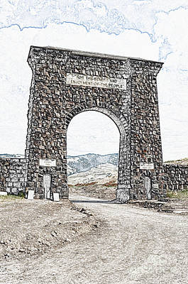 Digital Art - Roosevelt Arch 1903 Gate Old Time Dirt Road Yellowstone National Park Colored Pencil Digital Art by Shawn O'Brien