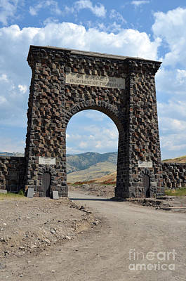 Photograph - Roosevelt Arch 1903 Gate Old Time Dirt Road Yellowstone National Park by Shawn O'Brien