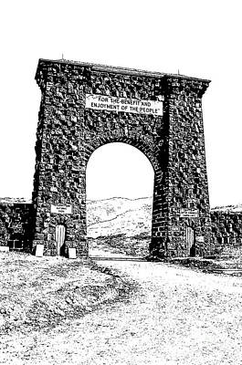 Digital Art - Roosevelt Arch 1903 Gate Old Time Dirt Road Yellowstone National Park Stamp Digital Art by Shawn O'Brien