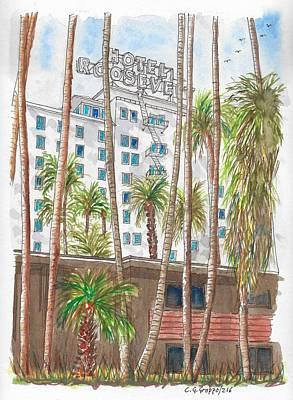 Roosevelt Hotel In Hollywood Blvd., Hollywood, California Original by Carlos G Groppa