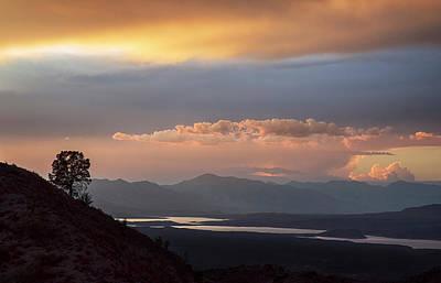 Roosevelt Lake At Sunset Art Print by Dave Dilli