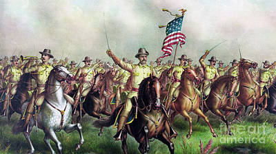 Painting - Roosevelt Leads A Cuba Battle - 1902 by Doc Braham