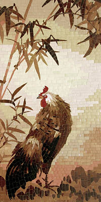 Rooster And Bamboo Original by Mai Nhon