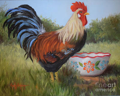 Painting - Rooster And Bowl I by Cheri Wollenberg