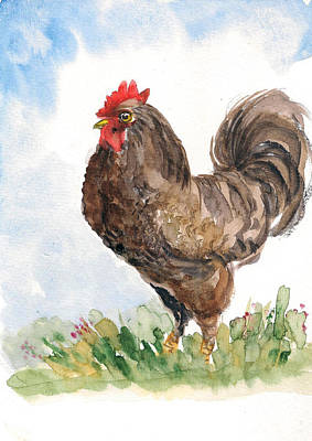 Painting - Rooster by Asha Sudhaker Shenoy