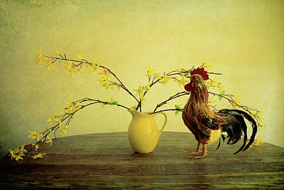Photograph -  Rooster At Sunrise by Tony Grider