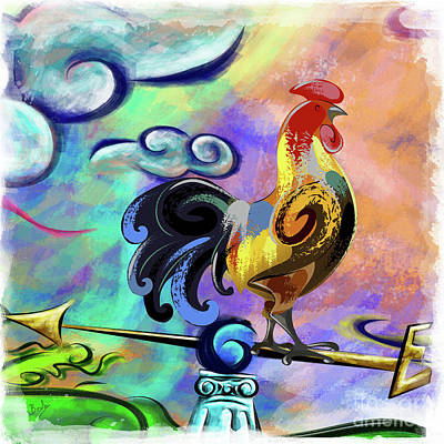 Rooster At The Outpost Art Print