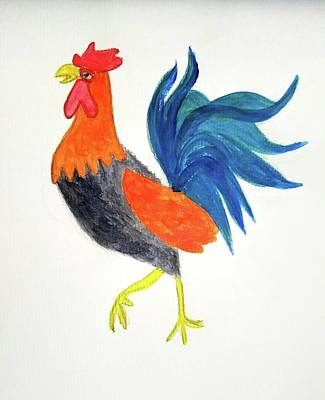 Painting - Rooster Awakens Us by Margaret Welsh Willowsilk