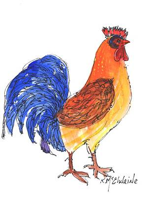 Painting - Rooster Beauty by Kathleen McElwaine