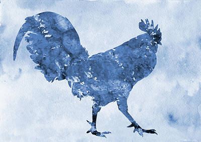 Poultry Digital Art - Rooster-blue by Erzebet S