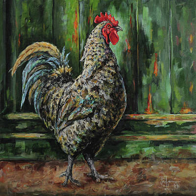 Painting - Rooster By A Green Door by Joan Frimberger