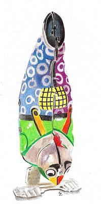 Rooster Clown Art Print