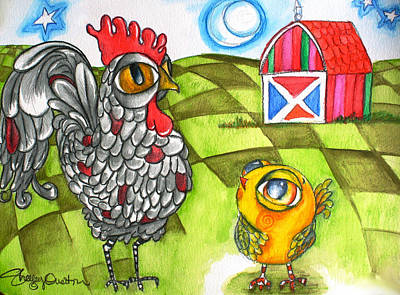 Painting - Rooster Coburn And The Chick by Shelley Overton