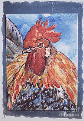 Painting - Rooster Country Painting On Blue  by Ella Kaye Dickey