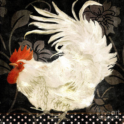 Bird Painting - Rooster Damask Dark by Mindy Sommers