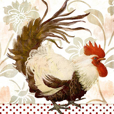 Cockerel Painting - Rooster Damask Light by Mindy Sommers