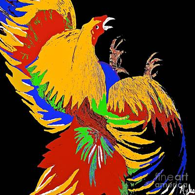 Painting - Rooster Fight by Saundra Myles