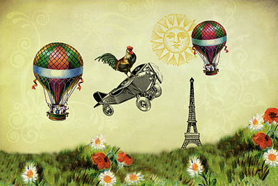 Rooster Flying High Art Print