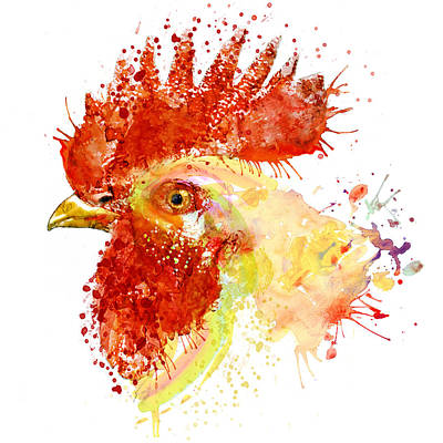 Painted Face Mixed Media - Rooster Head by Marian Voicu