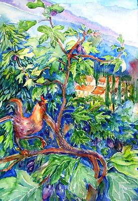 Painting - Rooster In A Fig Tree, Tuscany   by Trudi Doyle