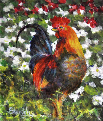 Painting - Rooster In Garden by Eileen  Fong