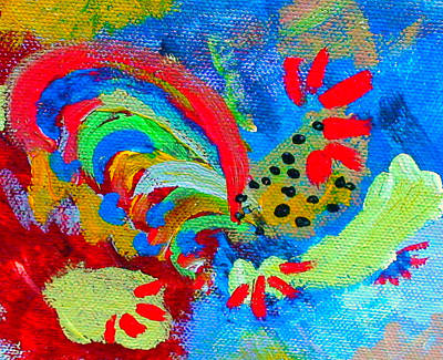 Prussian Blue Painting - Rooster In The Sky From The Fairy Queen by Angela Annas