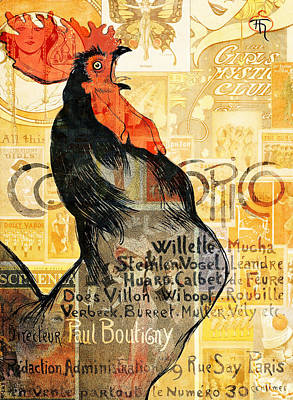 Birds Mixed Media Rights Managed Images - Rooster Royalty-Free Image by Jacky Gerritsen