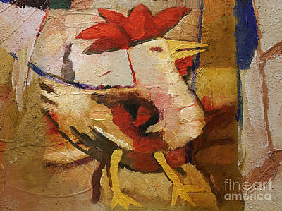 Painting - Rooster by Lutz Baar