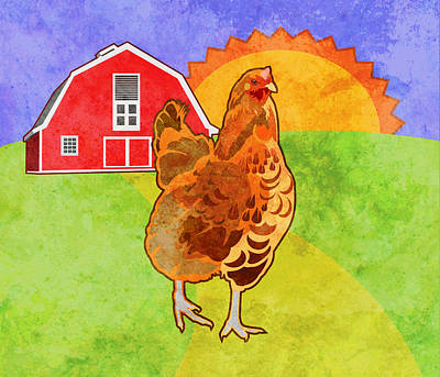 Barns Digital Art - Rooster by Mary Ogle