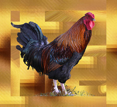 Photograph - Rooster On Golden Background by rd Erickson