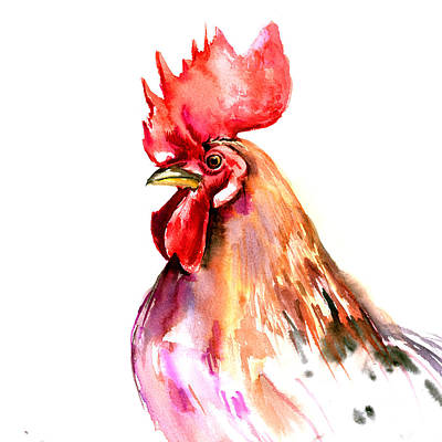 Rooster Wall Art - Painting - Rooster Portrait by Suren Nersisyan