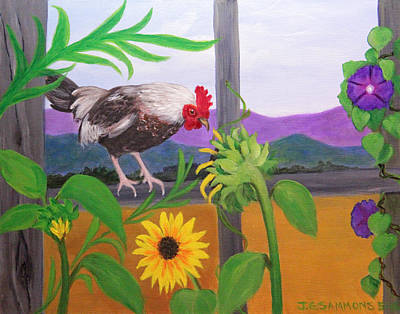Painting - Rooster Sampling Sunflowers by Janet Greer Sammons