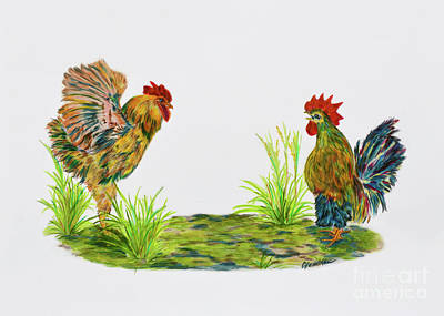 Drawing - Rooster Talk by Olga Hamilton