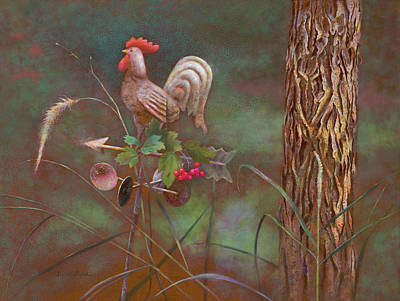 Rooster Weather Vane In Garden Art Print