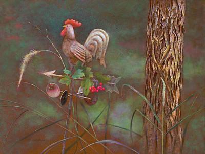 Forecast Painting - Rooster Weather Vane In Garden by Nancy Lee Moran