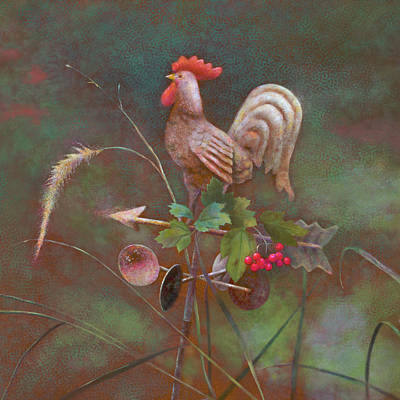 Forecast Painting - Rooster Weather Vane In Square Format by Nancy Lee Moran