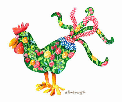 Rooster Painting - Rooster With Flair by Arline Wagner