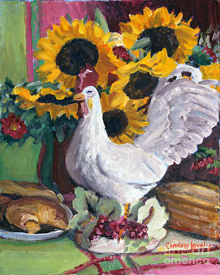 Table Cloth Painting - Rooster With Sunflowers by Candace Lovely