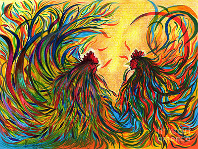 Stamen Mixed Media - Roosters Frienship by Fanny Diaz