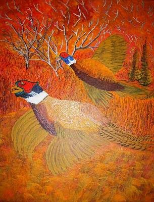 Upland Game Birds Painting - Roosters In The Evening by Roy Penny
