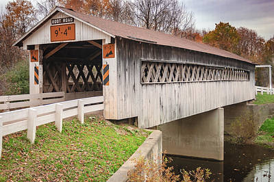 Music Royalty-Free and Rights-Managed Images - Root Rd Covered Bridge  by Jack R Perry