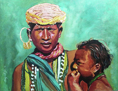 Indian Tribal Art Painting - Roots Of Culture by Jagadish Gadagin