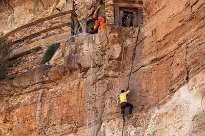 Photograph - Rope Climb At Debre Damo Monastery by Aidan Moran