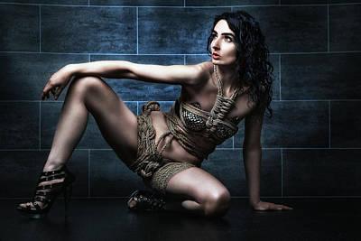 Art Nude Erotic Bondage Photograph - Rope Dress, Tied Girl - Fine Art Of Bondage by Rod Meier