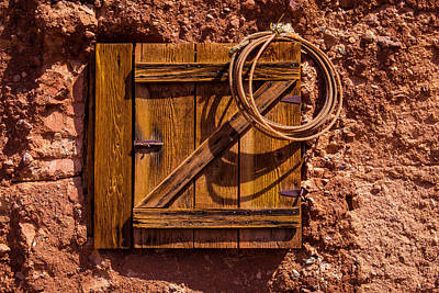 Old West Photograph - Rope Hanging On Small Door by Garry Gay