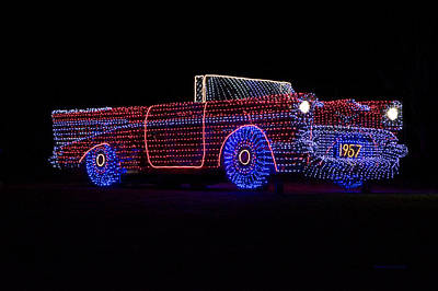 Night Lamp Mixed Media - Rope Light Art 1957 Chevy by Thomas Woolworth
