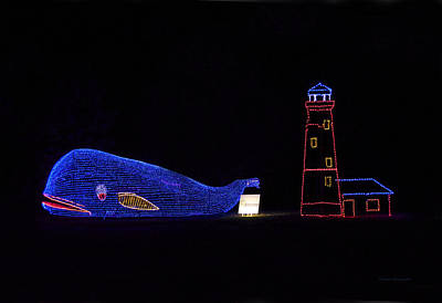 Night Lamp Mixed Media - Rope Light Art Whale And Light House by Thomas Woolworth