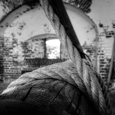 Photograph - Rope On Roller In Black And White by Greg Mimbs