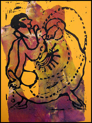 Lino Mixed Media - Ropedancer  by Adam Kissel
