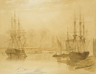Harbour Drawing - Ropewalk At Wapping, West Indiaman Union On Left, 1826  by Thomas Leeson the Elder Rowbotham